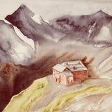 Σπίτι σε έναν λόφο μεταξύ των υψηλών βουνών μικρό watercolor πάρκων τοπίων γεφυρών φθινοπώρου στοκ εικόνες