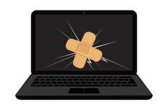 Σπασμένη επίδειξη lap-top με τη ρωγμή και το κολλώντας ασβεστοκονίαμα απεικόνιση αποθεμάτων
