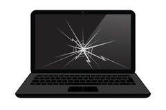 Σπασμένη επίδειξη lap-top με τη ρωγμή απεικόνιση αποθεμάτων