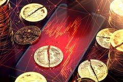 Σπασμένος bitcoin χωρίστε σε δύο κομμάτια βάζοντας κόκκινα διαγράμματα επέδειξε επί της οθόνης Δυσκολίες για την έννοια cryptocur απεικόνιση αποθεμάτων