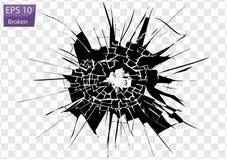 Σπασμένο γυαλί, ρωγμές, σημάδια σφαιρών στο γυαλί Υψηλή διάλυση διανυσματική απεικόνιση