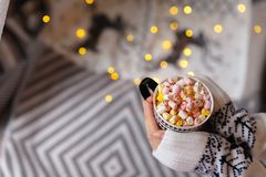 Σπιτική καυτή σοκολάτα με marshmallows στα θηλυκά χέρια στοκ εικόνα