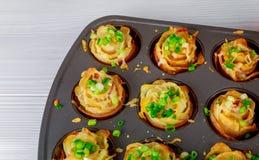 Σπιτικός αλμυρός στο μπέϊκον, τηγανισμένες πατάτες στο πιάτο στοκ εικόνες