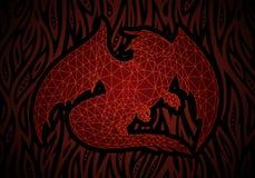 Τέχνη φαντασίας με τον κόκκινο δράκο στην πυρκαγιά διανυσματική απεικόνιση
