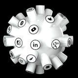 Τα κοινωνικά μέσα, κοινωνικό δίκτυο, Διαδίκτυο συνδέουν την τρισδιάστατη απεικόνιση ελεύθερη απεικόνιση δικαιώματος