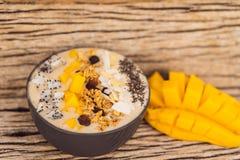 Τα κύπελλα καταφερτζήδων που έγιναν με το μάγκο, μπανάνα, granola, έξυσαν την καρύδα, τα φρούτα δράκων, τους σπόρους chia και τη  στοκ φωτογραφία με δικαίωμα ελεύθερης χρήσης