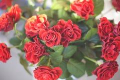 Τα δικτυωτά κόκκινα τριαντάφυλλα είναι για την πώληση στη φιάλη στοκ φωτογραφία με δικαίωμα ελεύθερης χρήσης