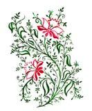 Τα δικτυωτά λεπτά λουλούδια και τα φύλλα με τις μπούκλες και τις αμπέλους αυξήθηκαν και πράσινος, φυτά watercolor διανυσματική απεικόνιση