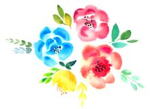 Τα όμορφα πολύχρωμα λουλούδια σχεδιάζονται για τη διακόσμηση διανυσματική απεικόνιση