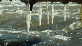 Τα παγάκια ποτίζουν τον ποταμό Morava παγωμένο στο χειμώνας μαγικό και μαγικό λευκό, που κρεμά από την προεξοχή, που ρέει κάτω με φιλμ μικρού μήκους