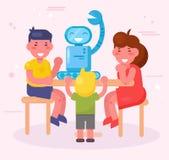 Τα παιδιά συγκεντρώνουν το διάνυσμα ρομπότ cartoon Απομονωμένη τέχνη διανυσματική απεικόνιση
