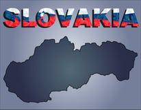 Τα περιγράμματα του εδάφους της Σλοβακίας και της λέξης της Σλοβακίας στα χρώματα της εθνικής σημαίας διανυσματική απεικόνιση