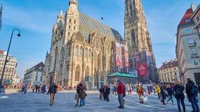 Τετράγωνο του ST Stephan και καθεδρικός ναός, Βιέννη, Αυστρία απόθεμα βίντεο