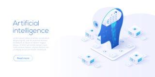 Τεχνητή νοημοσύνη ή νευρική έννοια δικτύων στη isometric διανυσματική απεικόνιση Neuronet ή υπόβαθρο τεχνολογίας AI με απεικόνιση αποθεμάτων