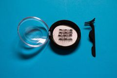 Τεχνητό μαγνητικό ψεύτικο Eyelashes που τίθεται στο μπλε υπόβαθρο στοκ φωτογραφία με δικαίωμα ελεύθερης χρήσης