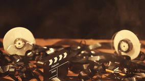 Τηλεοπτικός clapper ταινιών ξύλινος πίνακας πινάκων απόθεμα βίντεο
