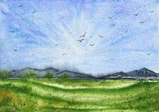 Τοπίο Watercolor με τον πράσινους τομέα και τα βουνά στοκ φωτογραφία