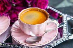Τοπ άποψη του φρέσκου καφέ Espresso στοκ εικόνα