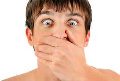 Το άτομο κλείνει το στόμα στοκ φωτογραφίες
