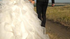 Το αγαπώντας ζεύγος μειώνει τα χέρια οδικής εκμετάλλευσης Ευτυχής οικογενειακή έννοια νυφών και νεόνυμφων newlyweds γαμήλια περιπ φιλμ μικρού μήκους