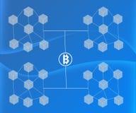 Το αφηρημένο υπόβαθρο σύνδεσε τους φραγμούς Bitcoin στις κλίσεις UEBL διανυσματική απεικόνιση