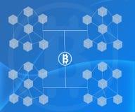 Το αφηρημένο υπόβαθρο σύνδεσε τους φραγμούς Bitcoin στις μπλε κλίσεις διανυσματική απεικόνιση
