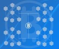 Το αφηρημένο υπόβαθρο σύνδεσε τους φραγμούς Bitcoin στις μπλε κλίσεις ελεύθερη απεικόνιση δικαιώματος