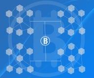 Το αφηρημένο υπόβαθρο σύνδεσε τους φραγμούς Bitcoin στις μπλε κλίσεις απεικόνιση αποθεμάτων