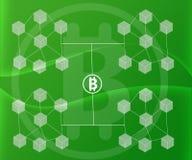 Το αφηρημένο υπόβαθρο σύνδεσε τους φραγμούς Bitcoin στις πράσινες κλίσεις χρώματος απεικόνιση αποθεμάτων