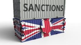 Το εμπορευματοκιβώτιο με το κείμενο ΚΥΡΩΣΕΩΝ σπάζει το εμπορευματοκιβώτιο φορτίου με σημαία του Ηνωμένου Βασιλείου Αποκλεισμός ή  απεικόνιση αποθεμάτων