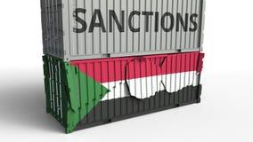 Το εμπορευματοκιβώτιο με το κείμενο ΚΥΡΩΣΕΩΝ σπάζει το εμπορευματοκιβώτιο φορτίου με τη σημαία του Σουδάν Αποκλεισμός ή πολιτική  διανυσματική απεικόνιση