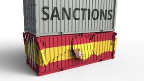 Το εμπορευματοκιβώτιο με το κείμενο ΚΥΡΩΣΕΩΝ σπάζει το εμπορευματοκιβώτιο φορτίου με τη σημαία της Ισπανίας Αποκλεισμός ή πολιτικ διανυσματική απεικόνιση