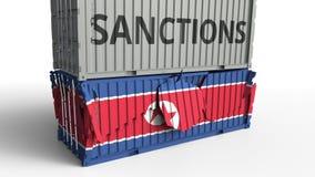 Το εμπορευματοκιβώτιο με το κείμενο ΚΥΡΩΣΕΩΝ σπάζει το εμπορευματοκιβώτιο φορτίου με τη σημαία της Βόρεια Κορέας Αποκλεισμός ή πο διανυσματική απεικόνιση