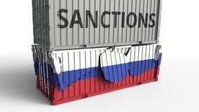 Το εμπορευματοκιβώτιο με το κείμενο ΚΥΡΩΣΕΩΝ σπάζει το εμπορευματοκιβώτιο φορτίου με τη σημαία της Ρωσίας Αποκλεισμός ή πολιτική  απεικόνιση αποθεμάτων