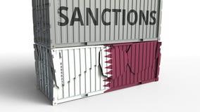 Το εμπορευματοκιβώτιο με το κείμενο ΚΥΡΩΣΕΩΝ σπάζει το εμπορευματοκιβώτιο φορτίου με τη σημαία του Κατάρ Αποκλεισμός ή πολιτική α απεικόνιση αποθεμάτων