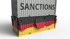 Το εμπορευματοκιβώτιο με το κείμενο ΚΥΡΩΣΕΩΝ σπάζει το εμπορευματοκιβώτιο φορτίου με τη σημαία της Γερμανίας Αποκλεισμός ή πολιτι ελεύθερη απεικόνιση δικαιώματος