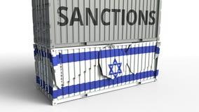 Το εμπορευματοκιβώτιο με το κείμενο ΚΥΡΩΣΕΩΝ σπάζει το εμπορευματοκιβώτιο φορτίου με τη σημαία του Ισραήλ Αποκλεισμός ή πολιτική  ελεύθερη απεικόνιση δικαιώματος