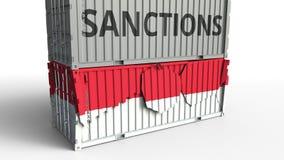 Το εμπορευματοκιβώτιο με το κείμενο ΚΥΡΩΣΕΩΝ σπάζει το εμπορευματοκιβώτιο φορτίου με τη σημαία της Ινδονησίας Αποκλεισμός ή πολιτ ελεύθερη απεικόνιση δικαιώματος
