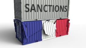 Το εμπορευματοκιβώτιο με το κείμενο ΚΥΡΩΣΕΩΝ σπάζει το εμπορευματοκιβώτιο φορτίου με τη σημαία της Γαλλίας Αποκλεισμός ή πολιτική απεικόνιση αποθεμάτων