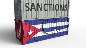 Το εμπορευματοκιβώτιο με το κείμενο ΚΥΡΩΣΕΩΝ σπάζει το εμπορευματοκιβώτιο φορτίου με τη σημαία της Κούβας Αποκλεισμός ή πολιτική  ελεύθερη απεικόνιση δικαιώματος