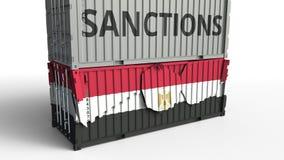 Το εμπορευματοκιβώτιο με το κείμενο ΚΥΡΩΣΕΩΝ σπάζει το εμπορευματοκιβώτιο φορτίου με τη σημαία της Αιγύπτου Αποκλεισμός ή πολιτικ ελεύθερη απεικόνιση δικαιώματος