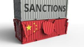 Το εμπορευματοκιβώτιο με το κείμενο ΚΥΡΩΣΕΩΝ σπάζει το εμπορευματοκιβώτιο φορτίου με τη σημαία της Κίνας Αποκλεισμός ή πολιτική α απεικόνιση αποθεμάτων