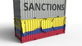 Το εμπορευματοκιβώτιο με το κείμενο ΚΥΡΩΣΕΩΝ σπάζει το εμπορευματοκιβώτιο φορτίου με τη σημαία της Κολομβίας Αποκλεισμός ή πολιτι διανυσματική απεικόνιση