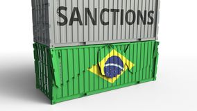 Το εμπορευματοκιβώτιο με το κείμενο ΚΥΡΩΣΕΩΝ σπάζει το εμπορευματοκιβώτιο φορτίου με τη σημαία της Βραζιλίας Αποκλεισμός ή πολιτι ελεύθερη απεικόνιση δικαιώματος