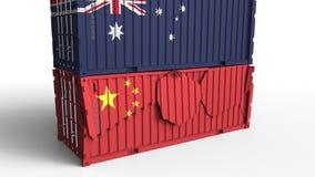 Το εμπορευματοκιβώτιο με τη σημαία της Αυστραλίας σπάζει το εμπορευματοκιβώτιο φορτίου με τη σημαία της Κίνας Εμπορικός πόλεμος ή ελεύθερη απεικόνιση δικαιώματος