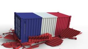 Το εμπορευματοκιβώτιο με τη σημαία της Γαλλίας σπάζει το εμπορευματοκιβώτιο φορτίου με τη σημαία της Κίνας Εμπορικός πόλεμος ή οι φιλμ μικρού μήκους