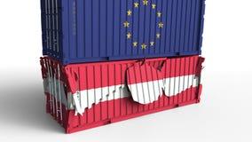 Το εμπορευματοκιβώτιο με τη σημαία της Ευρωπαϊκής Ένωσης σπάζει το εμπορευματοκιβώτιο φορτίου με τη σημαία της Αυστρίας Εμπορικός ελεύθερη απεικόνιση δικαιώματος