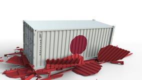 Το εμπορευματοκιβώτιο με τη σημαία της Ιαπωνίας σπάζει το εμπορευματοκιβώτιο φορτίου με τη σημαία της Κίνας Εμπορικός πόλεμος ή ο φιλμ μικρού μήκους