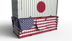 Το εμπορευματοκιβώτιο με τη σημαία της Ιαπωνίας σπάζει το εμπορευματοκιβώτιο φορτίου με σημαία των Ηνωμένων Πολιτειών Εμπορικός π διανυσματική απεικόνιση
