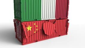 Το εμπορευματοκιβώτιο με τη σημαία της Ιταλίας σπάζει το εμπορευματοκιβώτιο φορτίου με τη σημαία της Κίνας Εμπορικός πόλεμος ή οι διανυσματική απεικόνιση